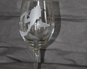 Hand Etched Scuba diving wine glass with shark