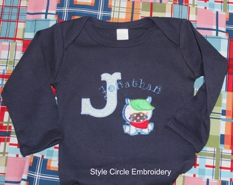 Long Sleeve Onsie Personalized with a Baby Horse