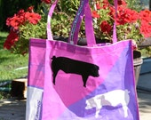 Large pink and purple market tote with pigs.