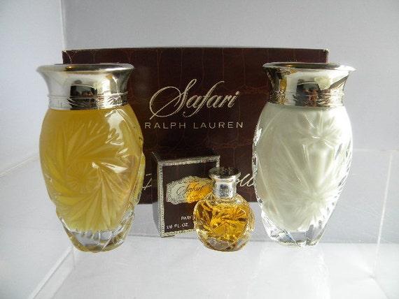 Safari Perfume 3 Piece Gift Set By Ralph Lauren 1990