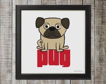 Adorable Pug Illustration, Fawn
