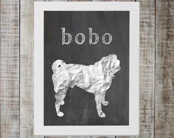 Custom Dog Chalkboard Print