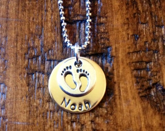 Handstamped Personalized Mom Grandma Necklace