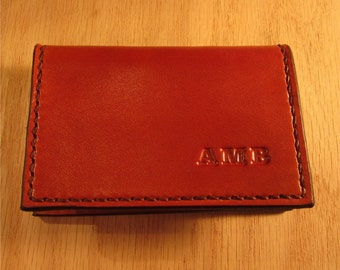 Personalized Card Case, Leather business card holder,  Mini Wallet, Whiskey