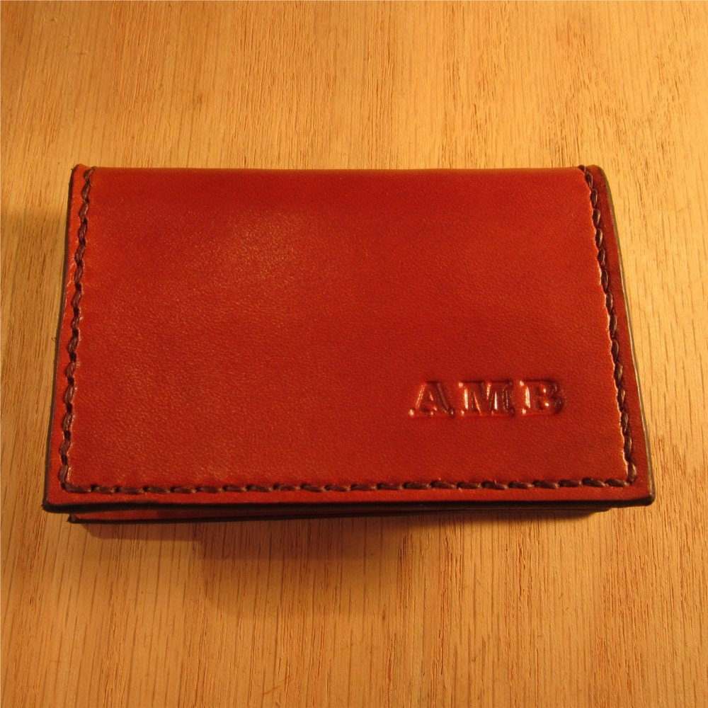 Personalized card case leather business card holder mini for Monogrammed leather business card holder