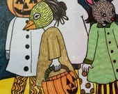 Trick or treating figures on Halloween night original ink drawing on bright white archival paper.
