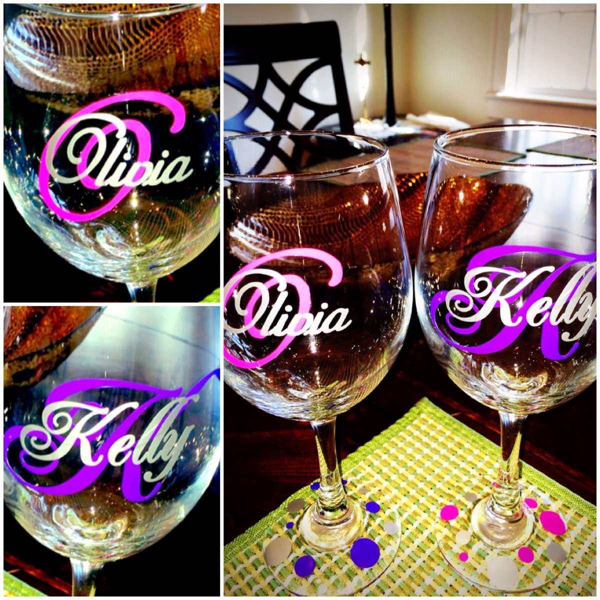 Custom Monogram Vinyl Wine Glass Decals Bridal Party