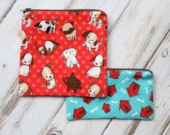Set of Cute Puppy Reusable Sandwich & Snack Bag Set with Zipper Closure
