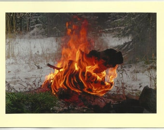 CAMPFIRE - Original Outdoor Scenery / Local Artist Digital Photo - Blank Photo Card Twin Fold Design - In Stock