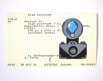 Vintage Camera Library Card Art - Print of my painting of a vintage camera with blue flashbulb on library card