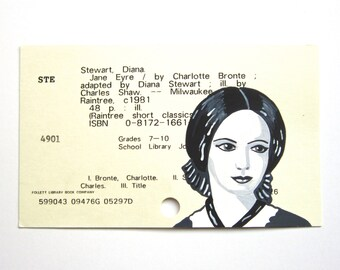 Jane Eyre / Charlotte Bronte Library Card Art - Print of my painting of Charlotte Bronte on library card for the book Jane Eyre