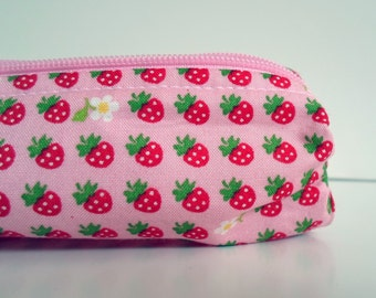 Pencil Case, Pencil Pouch, School Supply – Pink Strawberries Japanese Fabric – Bold, Bright and Whimsical - Toiletry & Cosmetics Bag