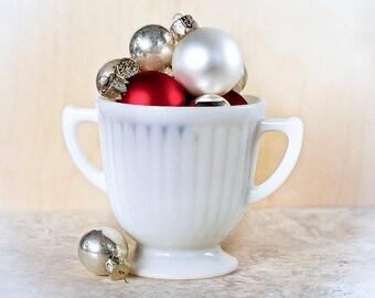 Vintage Milk Glass Sugar Bowl Open Double Handled FireKing Style