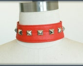 Red Vegan Leather Choker with Studs, Goth