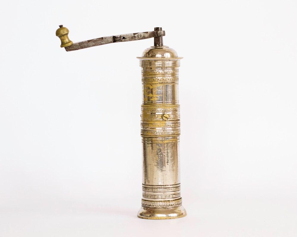 Old Coffee Grinders ~ Vintage brass coffee grinder antique mill