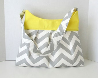Chevron Pleated Purse Hobo Bag Gray with Yellow or Choose Your Own Spring Summer Accessory