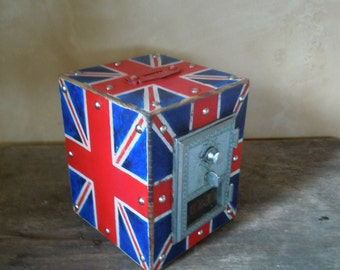 Chester Mannly Union Jack Steampunk Post office Box Piggy Bank with Silver Door