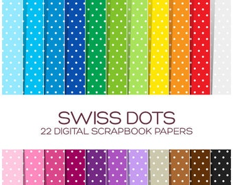 Swiss Dot Digital Paper Pack Polka Dot Paper Sale Digital Scrapbook Paper Digital Background Rainbow Digital Paper Digital Textures - P00007