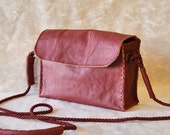 messenger bag, crossbody with long strap, cherry red pure Italian leather, handmade, ONE OF A KIND, boho and hippie for women and girls