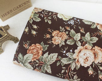 Healing Roses Cotton Fabric - Brown - By the Yard 43389
