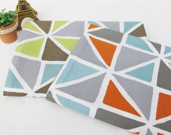 Geometric Cotton Fabric - Green or Orange - By the Yard 55764