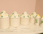 Vintage Daisy Kitchen Canisters Set Salt Pepper Shakers Ceramic 1970s