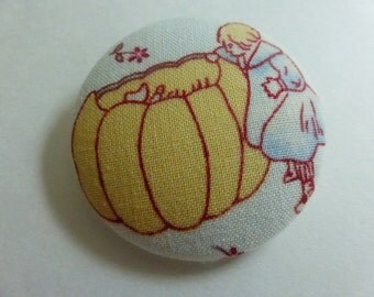 1 7/8  Inch Fabric Covered Studio Button Nursery Rhyme  Peter, Peter Pumpkin Eater