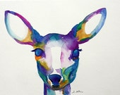 Original Deer Watercolor Painting RESERVED for Julie