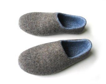 mens wool slippersGrandfather personalized shoes Wool man slippers Felted slippers for men Gray blue shoe
