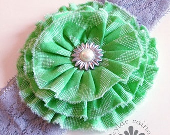 GREEN Headband  - Green & Silver Headband - Holiday headband -  Fits Girls to adults  - Boutique style - Photo Prop