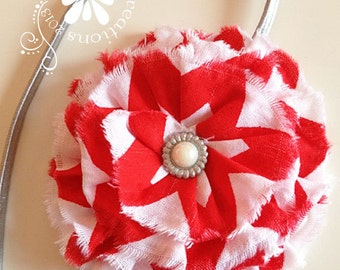 Red & White CHEVRON Headband  -  Fits Girls to adults  - Boutique style - Photo Prop