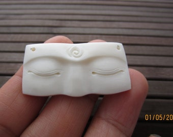 New Design Excellent Buddha Eye Carved Bone Cabochon, DRILLED, Buddha Face Cabochon, Embellishment, Jewelry making Supplies B3498