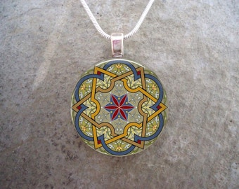 Celtic Jewelry - Glass Pendant Necklace - Celtic Decoration 34