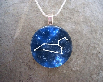Constellation Leo - Glass Pendant Jewelry - Astronomy Necklace