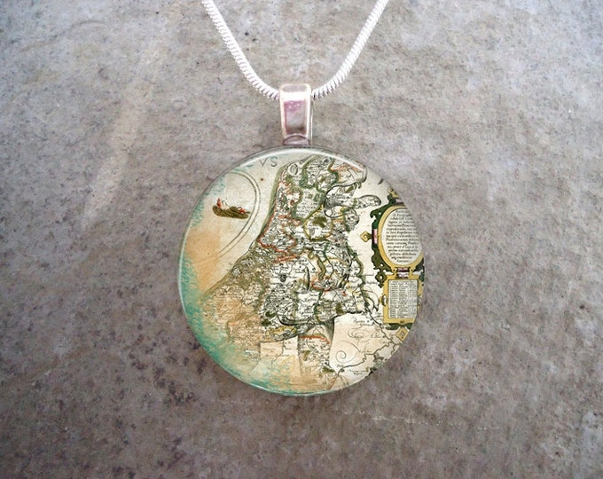 Map Jewelry - Glass Pendant Necklace - Map 7 - RETIRING 2017