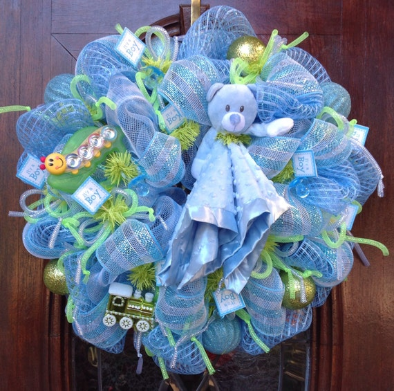 Baby boy deco mesh wreath - Deco boy ...
