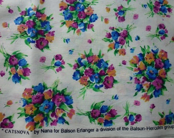 """One (1) Yards Quilt Cotton Bouquets On White Ground """"Catsnova"""" Gorgeous Colors by  Nana for Bolson Hercules Group"""