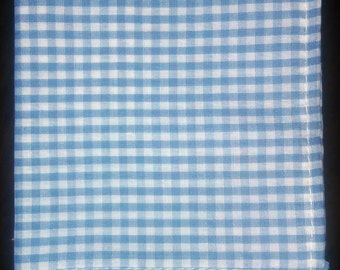 "Blue & White Check Gingham Pocket Square w/ White Stitching - ""Crystal Blue Persuasion"""