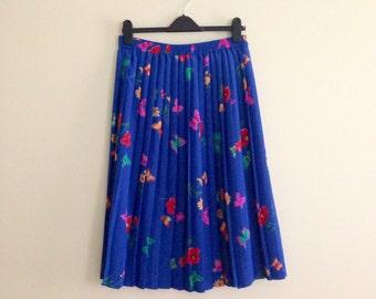 Vintage Butterfly Print Skirt // Cobalt Blue Pleated Skirt // Coloful Novelty Print Skirt // Floral Print // Midi - 1990s