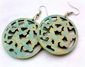 Large Earrings Boho Folk Round Filigree Blue Gold Summer Butterfly Pattern