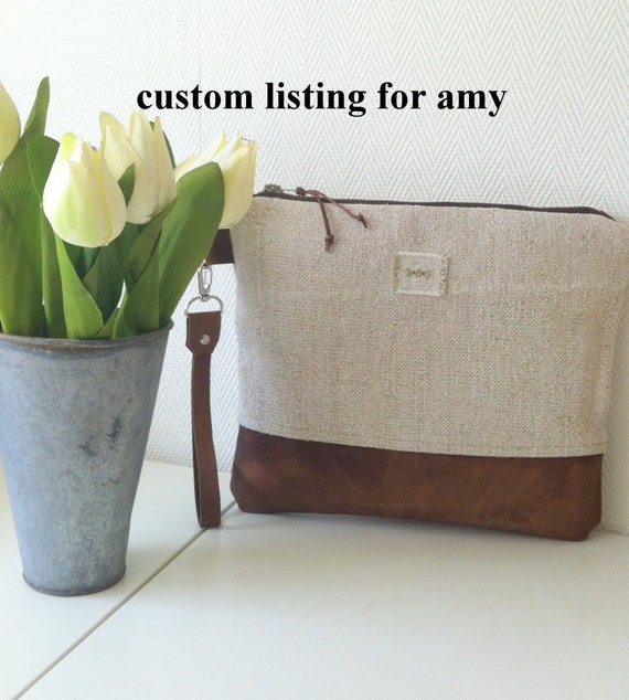 Custom listing for Amy / Handbag, purse, shoulder bag, diaper bag or everyday bag in grey-blue canvas and faux leather