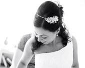 Bridal Flower Tiara. Wedding Silver Headpiece. Bridal Headpiece.