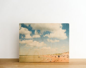 """Beach Photography Limited Edition Image Transfer on 11""""x14"""" Wood Panel by Patrick Lajoie - sand castle, PEI, summer"""