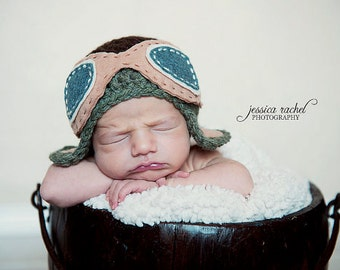 Aviator Newborn Crochet hat - Choose color and size - Photography prop - Made to order - pilot hat