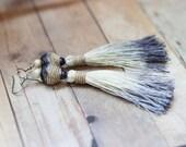 Earings. Tassel ombre beige / wheat/ /navy blue long earings.