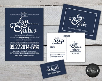 Unique Modern Wedding Invitations - Printable Files - Navy & White