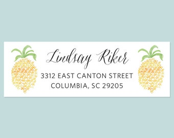 Pineapple Return Address Label Sticker, Return Address Label, Address Sticker, Pineapple Sticker, Pineapple Address Label