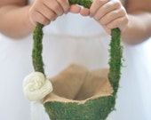 Moss Flower Girl Basket by Burlap and Linen Co