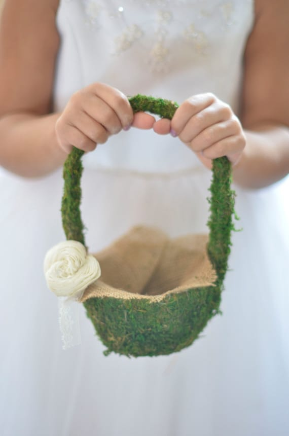 Flower Girl Basket Moss : Moss flower girl basket by burlap and linen co