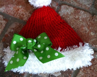 Girls Santa Elf Hat With Green Bow Hand Knitted